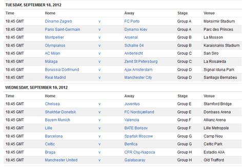 chions league table and fixtures league schedule 2013 league schedule 2013