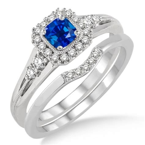 1.5 Carat Sapphire and Diamond Bridal Set Halo Engagement