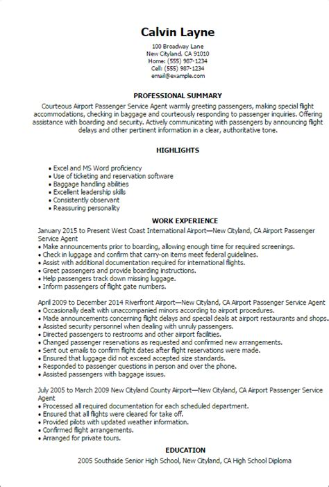 Myperfectresume Customer Service by Airport Passenger Service Resume Templates
