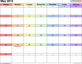 May 2015 Calendar Template by May 2015 Calendars For Word Excel Pdf