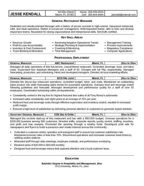 restaurant manager resume sles hotel general manager resume template