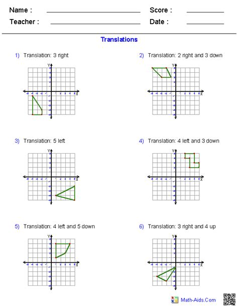 Geometry Translations Worksheet geometry worksheets transformations worksheets
