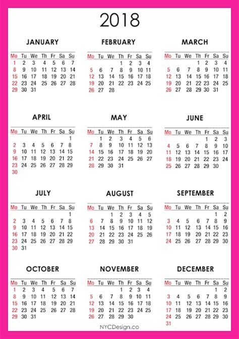 2018 calendar printable free template paper trail design new york web design studio new york ny 2018 calendar