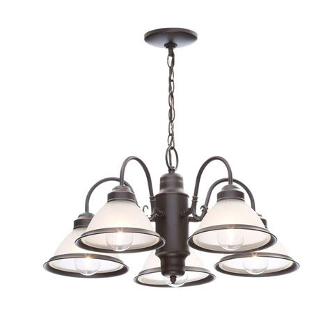 home chandelier hton bay halophane 5 light rubbed bronze chandelier