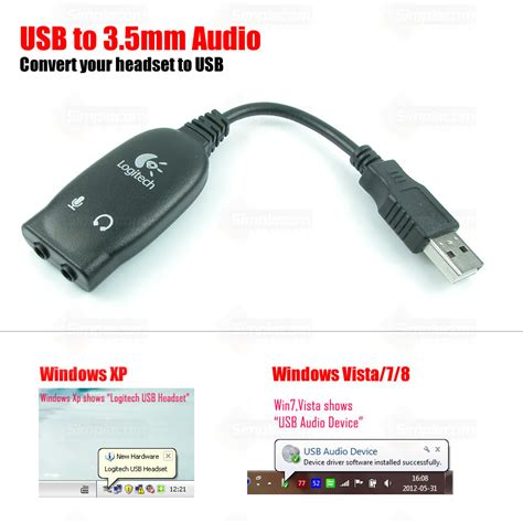 Sound Card Usb Headset logitech usb headset adapter cable sound card headphones converter microphone ebay