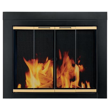 Bi Fold Fireplace Doors by Shop Pleasant Hearth Arrington Black With Moonlight Gold