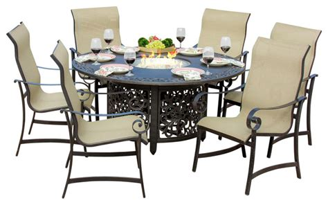la salle 6 person sling patio dining set with pit