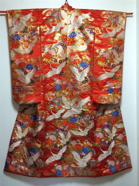 B585 Flower Pattern Kimono Outer kimono dress blue uchikake crane floral