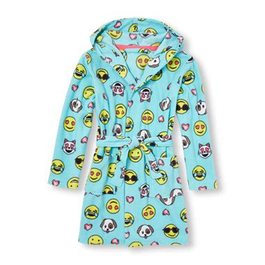 emoji robe girls long sleeve emoji print hooded robe