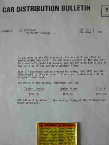 Barc Detox Phone Number by Sell Used 1988 Pontiac Trans Am Gta Notchback Rarest Of