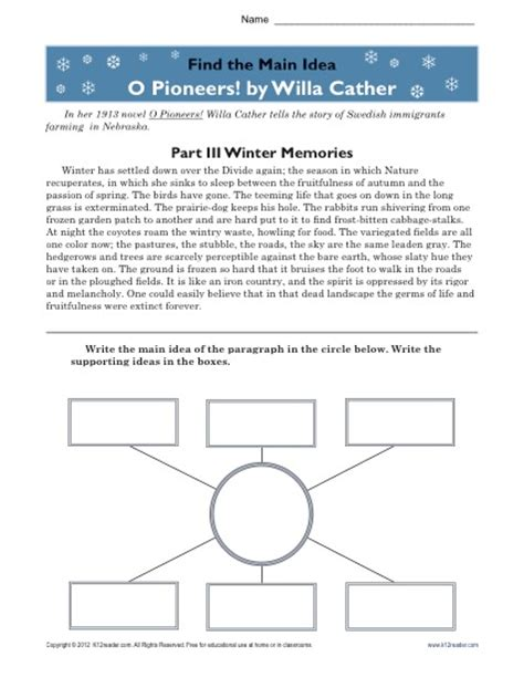 Finding The Idea Worksheets by High School Idea Worksheet About O Pioneers
