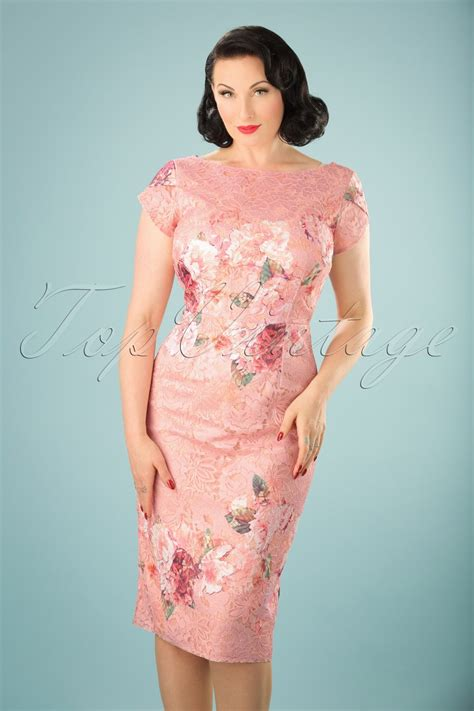 60s floral lace pencil dress in pink