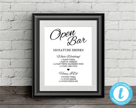 Wedding Open Bar Sign Signature Drinks Template 8x10 Wedding Wedding Drink Sign Template