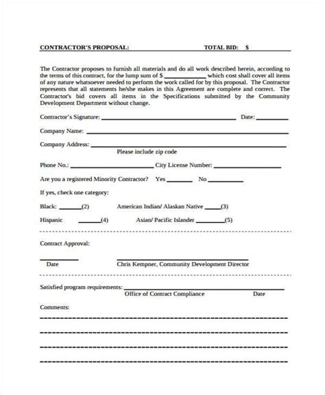 Proposal Form Templates General Contractor Forms Templates