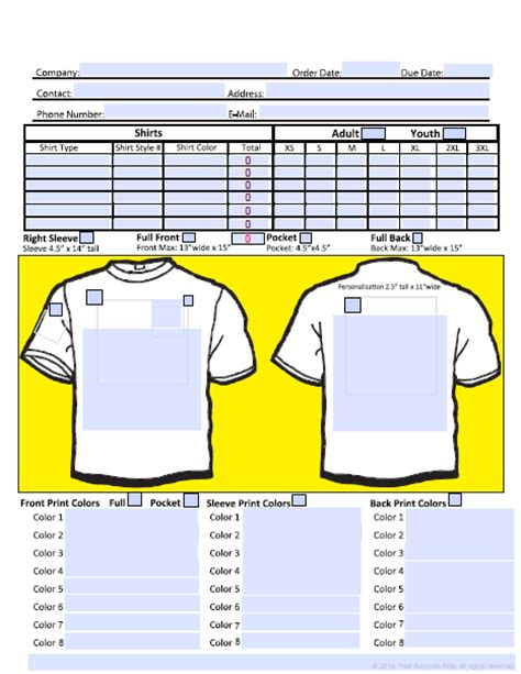 free screen printing order form