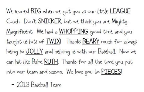 thank you letter to baseball parents baseball coach thank you quotes quotesgram
