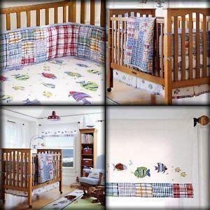 fish crib bedding pottery barn bermuda fish madras crib bedding set boy