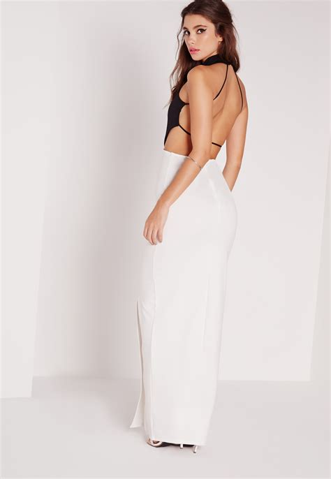 Backless Maxi Dress missguided backless maxi dress monochrome in black lyst