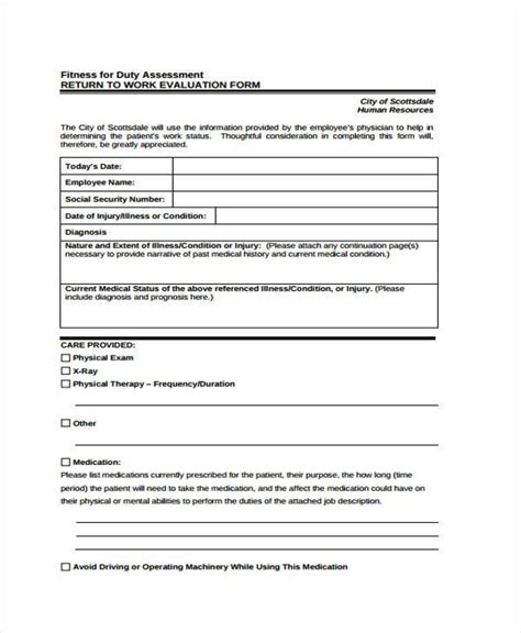 Work Evaluation Letter Return To Work Form Employee Clearance Form Sle Leave Return To Work Form