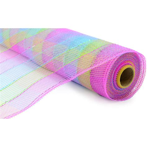 deco mesh 21 quot poly deco mesh metallic pastel check re1060hk craftoutlet