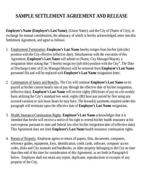 employment settlement agreement template 12 sle employment agreement free sle exle