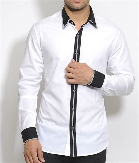 i white cotton shirt with black placket collar and cuff with stripes piping buy i