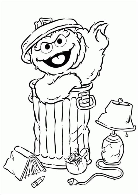 free oscar the grouch face coloring pages