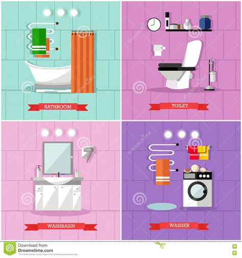 bathroom banner bathroom plumbing banners set vector illustration