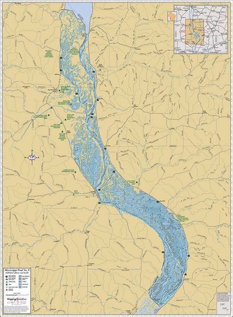 map of mississippi river mississippi river pool 9 wall map