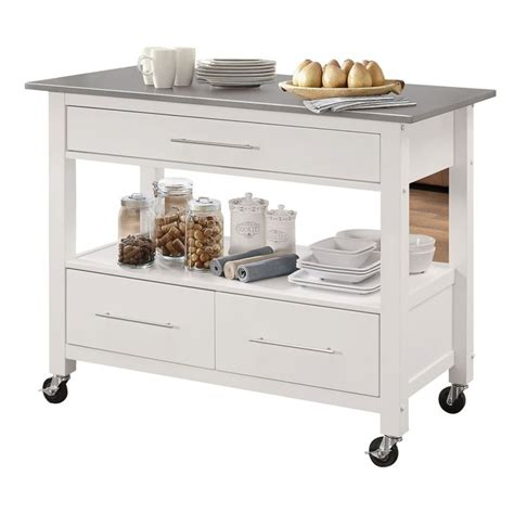 kitchen island ottawa acme ottawa stainless steel top kitchen island in white 98330