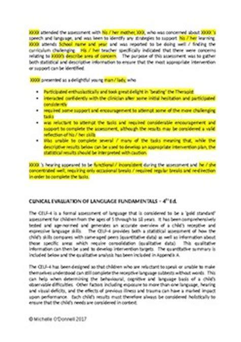 celf 4 sle report report writing framework by speech pathology