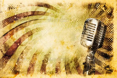 imagenes retro karaoke grunge music background with old microphone stock photo by