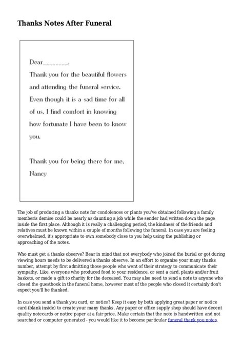 thank you letter after funeral sle thanks notes after funeral