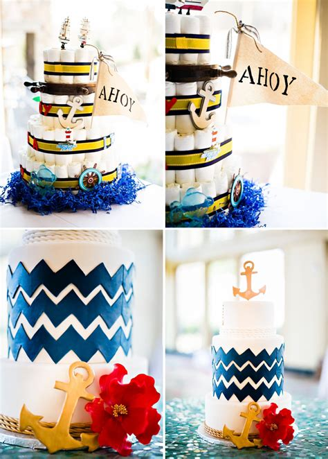 Baby Shower Sailor by Sailor Baby Shower Cake Ahoy Flag Blue Waves Gold Anchor