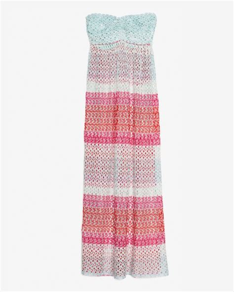 To The Bring A Missoni Bandeau Dress by Lyst Missoni Bandeau Crochet Cover Up Dress In Pink