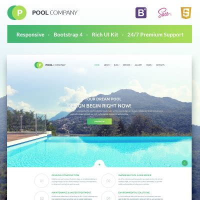 Swimming Pool Pool Cleaning Templates Templatemonster Swimming Pool Website Templates Free