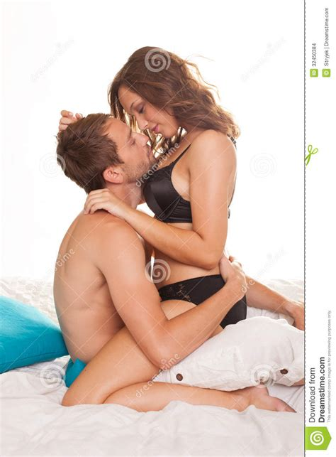 sexy couple in bed sexy couple in intimacy relations stock images image