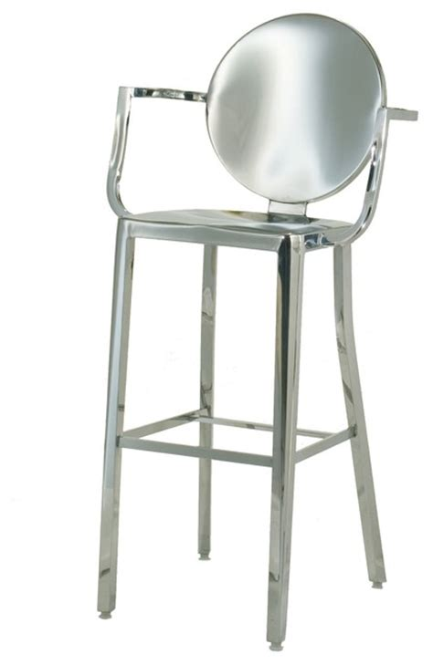 stainless steel bar stools with backs innerspace polished stainless steel round back bar height