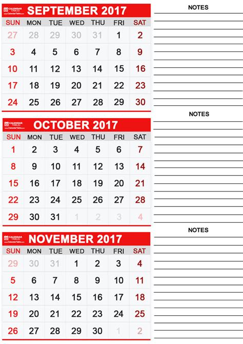 Calendar 2017 October November Word Printable October 2017 Calendar Calendar Table Calendar