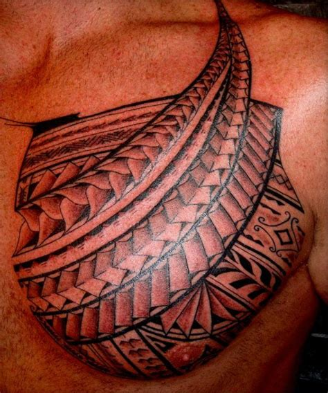 polynesian chest tattoo model