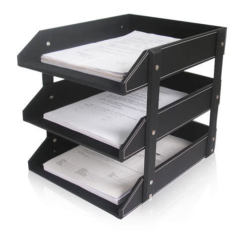 file rack for desk aliexpress com buy 3 layer leather file document tray