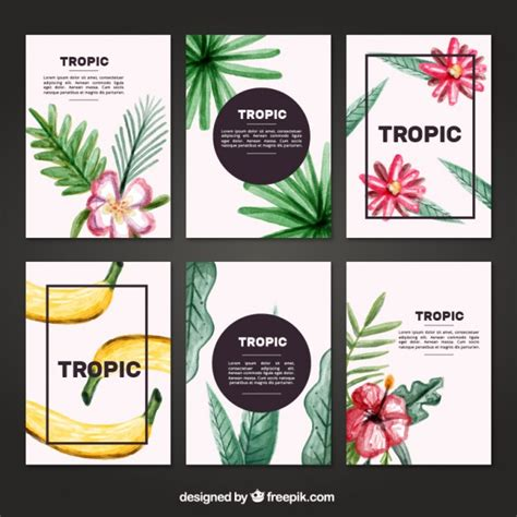 Tropical Cards - watercolor tropical cards set vector free