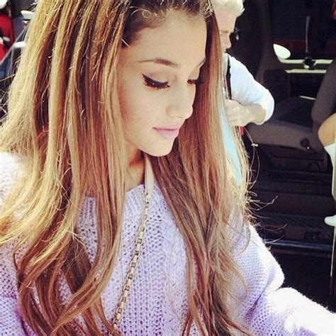 whats up with ariana grandes hair ariana grande hair make up outfit purple image