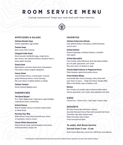 Room Menu by Royal Caribbean Charges For Room Service Revs Menu