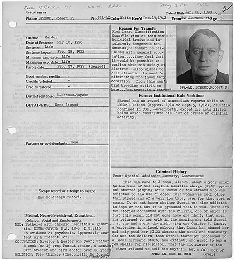 California Prison Inmate Records This Prison Record For The Birdman Of Alcatraz Is Part Of The Holdings Of The National