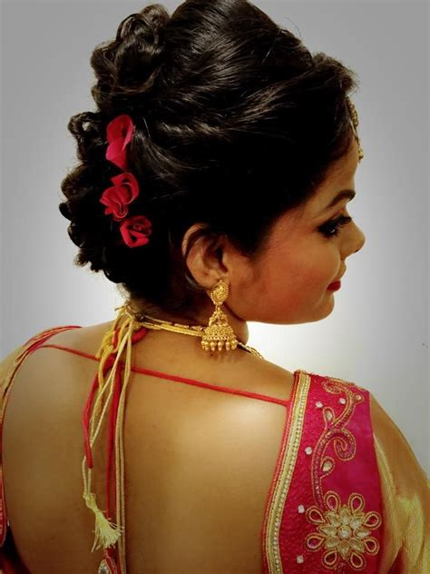 Wedding Hairstyles On Saree by Indian S Bridal Reception Hairstyle By Swank Studio