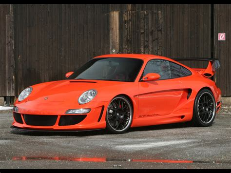 pink porsche 911 2006 gemballa gtr 650 evo orange based on porsche 997