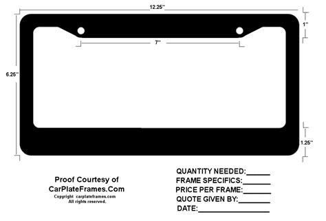 Custom License Plate Frames Contact Us For Pricing Products License Plate Frame Template