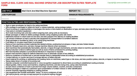 mail clerk and mail machine operator title docs