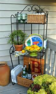 Outdoor Bakers Rack Ideas Upstairs Downstairs Outdoor Baker S Rack Three Ways